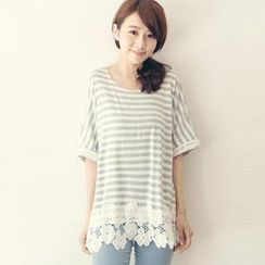 Tokyo Fashion - Tie-Back Lace-Panel Striped Top