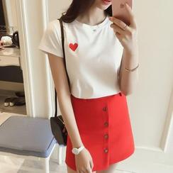 MePanda - Set: Embroidered Heart T-Shirt + Button-Front Skirt