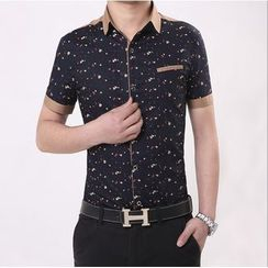 JIBOVILLE - Short-Sleeve Floral Patterned Shirt