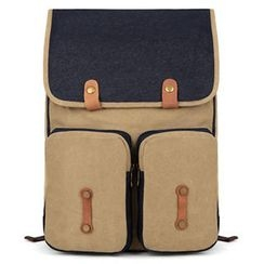 Mr.ace Homme - Leather-Strap Flap Backpack