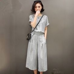 EFO - Set: Short-Sleeve Striped Blouse + Striped Wide-Leg Pants