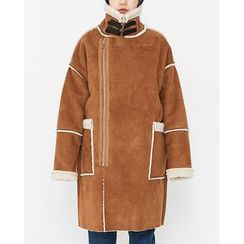 Someday, if - Funnel-Neck Faux-Shearling Coat