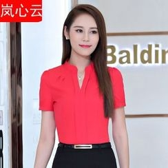 Skyheart - 套装: V领短袖西装衬衫 + 短裙