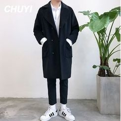 Chuoku - Notch Lapel Snap Button Coat