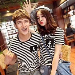 Evolu - Short-Sleeve Striped Couple T-Shirt