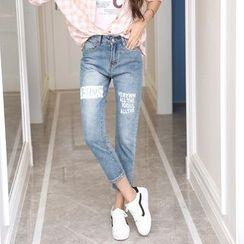Denimot - Print Washed Jeans