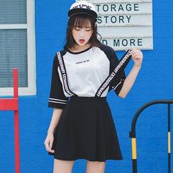 HotBlock - Lettering Suspender Skirt