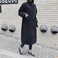 Seoul Fashion - Funnel-Neck Pocket-Side Long Parka