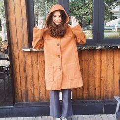 MePanda - Plain Hooded Woolen Jacket