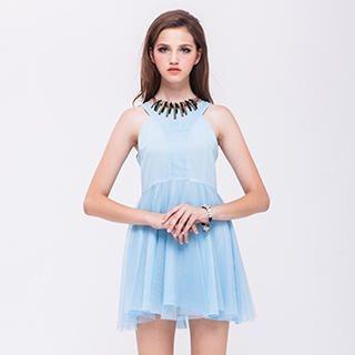 I-DOU - Sleeveless Mesh-Panel Dress
