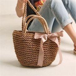 Wifky - Tie-Strap Rattan Shoulder Bag