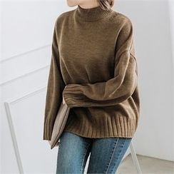 JOAMOM - Mock-Nect Drop-Shoulder Knit Top