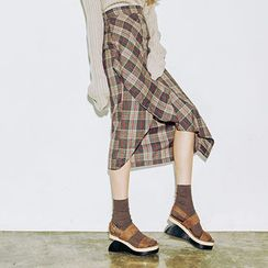 chuu - Draped-Front Midi Plaid Skirt