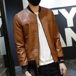 DUKESEDAN - Faux Leather Zip Jacket