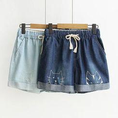 Suzette - Embroidered Cat Denim Shorts