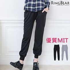 RingBear - 運動休閒獨特個性素面前後雙垮口袋拼接大腿羅紋棉質布袋褲