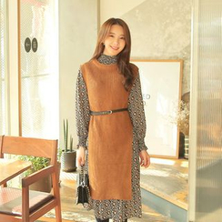 Cherryville - Set: Long Knit Vest + A-Line Dress with Belt