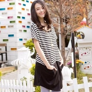 CatWorld - Chiffon-Hem Striped Dress