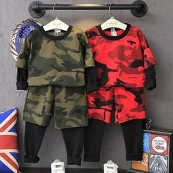 Spring Swallow - Kids Set: Camouflage Pullover + Pants