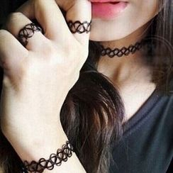 Jael - Set: Elastic Tattoo Choker + Ring + Bracelet