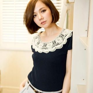CatWorld - Lace-Neckline Knit Top