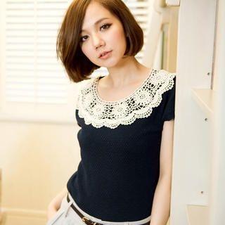 CatWorld - Lace-Neckline Knit Top