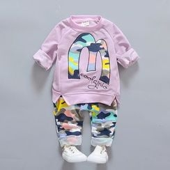 POMME - Kids Set: Letter Applique Pullover + Camo Pants