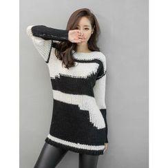 GUMZZI - Color-Block Long Sweater