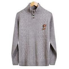 Seoul Homme - Mock-Neck Cable-Knit Top