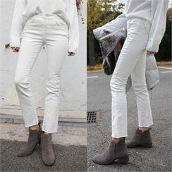 QNIGIRLS - Fray-Hem Boot-Cut Pants