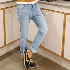 NANING9 - Cotton Low-Crotch Jeans