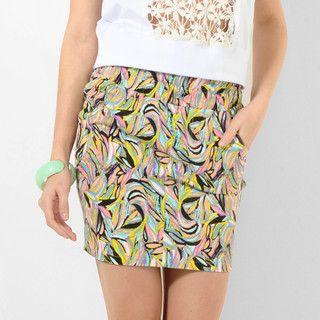 YesStyle Z - Paper-Bag Waist Denim Miniskirt