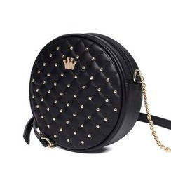 Princess Carousel - Quilted Studded Round Shoulder Bag