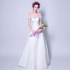 Angel Bridal - Off-Shoulder Beaded Charm Wedding Dress