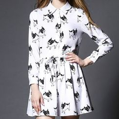 Merald - Dog Print Drawstring Waist Shirtdress