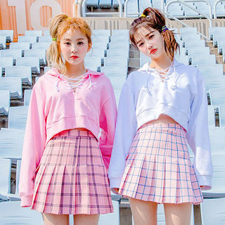 chuu - Inset Shorts Plaid Mini Pleat Skirt