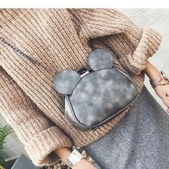 Aishang - Mouse Ear Faux Leather Handbag