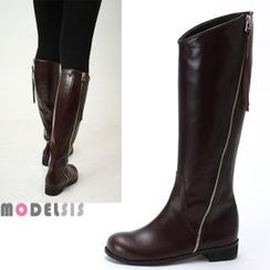 MODELSIS - Genuine Leather Round-Toe Zip-Up Long Boots