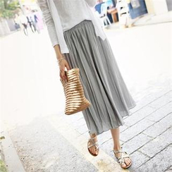 smusal - Banded-Waist Accordion-Pleated Long Skirt