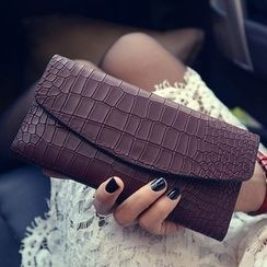 Velocia - Embossed Faux Leather Long Wallet