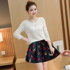 Rosehedge - Set: Open Knit Sweater + Floral Print Skirt