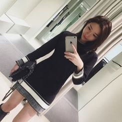 Cotton Candy - Long-Sleeve Knit A-line Dress