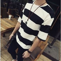 Bestrooy - Elbow-Sleeve Striped T-Shirt