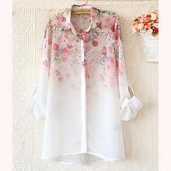 JVL - Tab-Sleeve Floral Chiffon Shirt