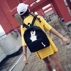 Seok - Rabbit Print Canvas Backpack