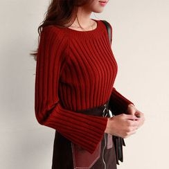 NIPONJJUYA - Bell-Sleeve Wool Blend Rib-Knit Top