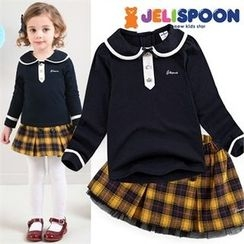 JELISPOON - Girls Set: Collared Top + Plaid Mini Skirt