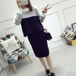 Edelweiss - Set: Color Block Sweater + Knit Skirt