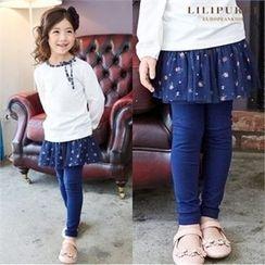 LILIPURRI - Kids Inset Mesh Skirt Leggings