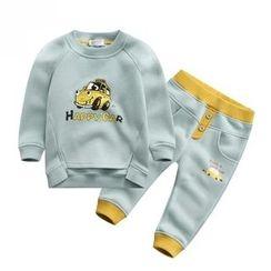 Endymion - 儿童套装: 汽车印花套头衫 + 慢跑裤